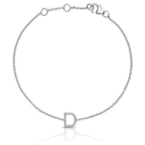 Lajoux Personalized Initial Diamond Bracelet White Gold