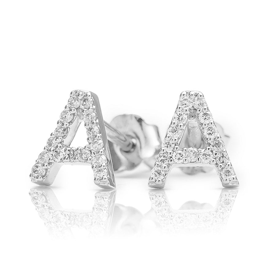 ABC Initial Diamond Earring White Gold