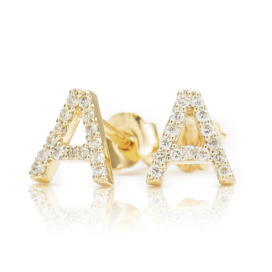ABC Initial Diamond Earring Yellow Gold