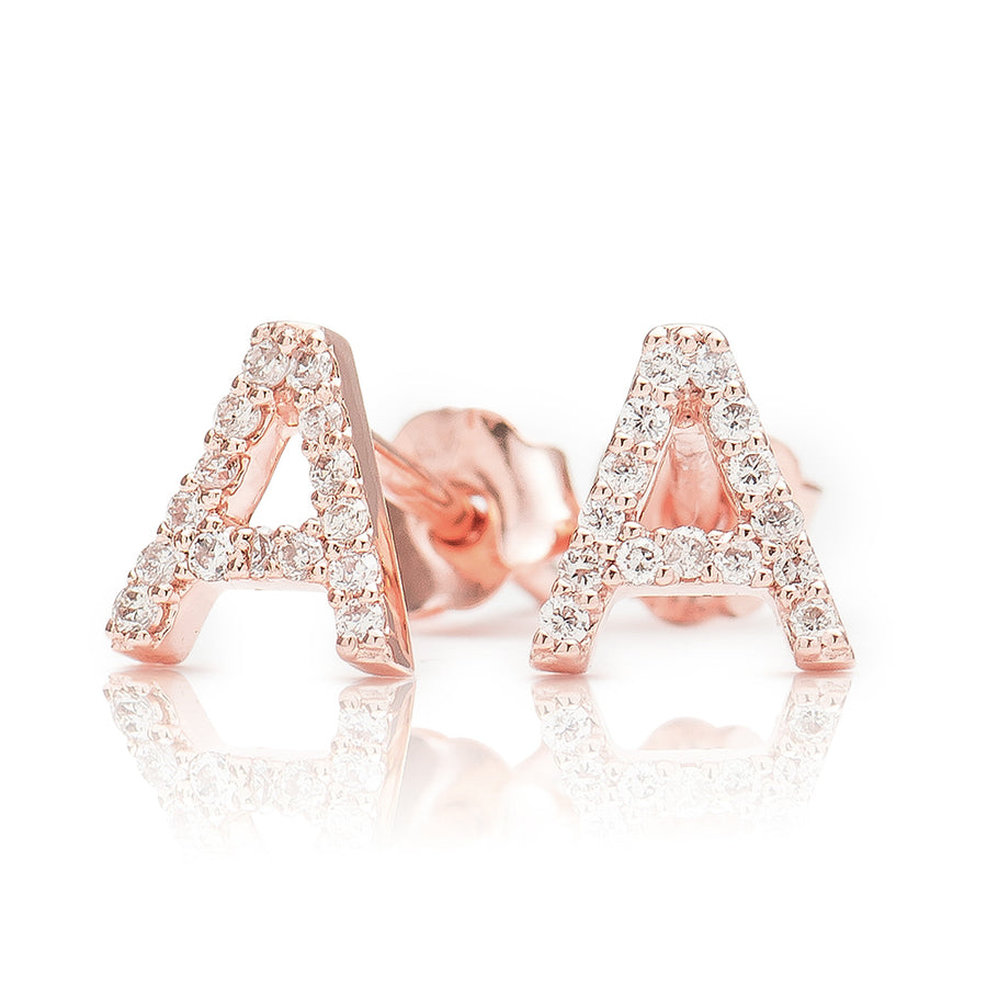 ABC Initial Diamond Earring Rose Gold