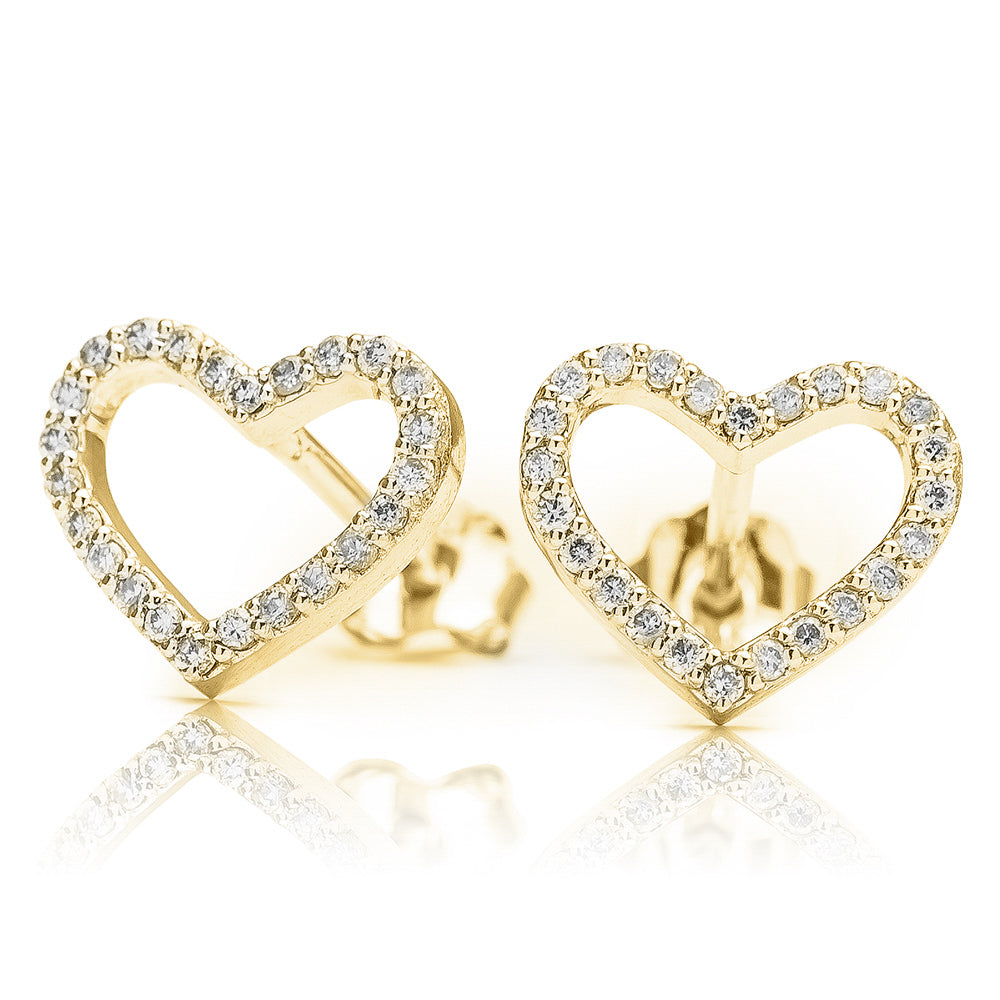 Lajoux Diamond Heart Earring Yellow Gold