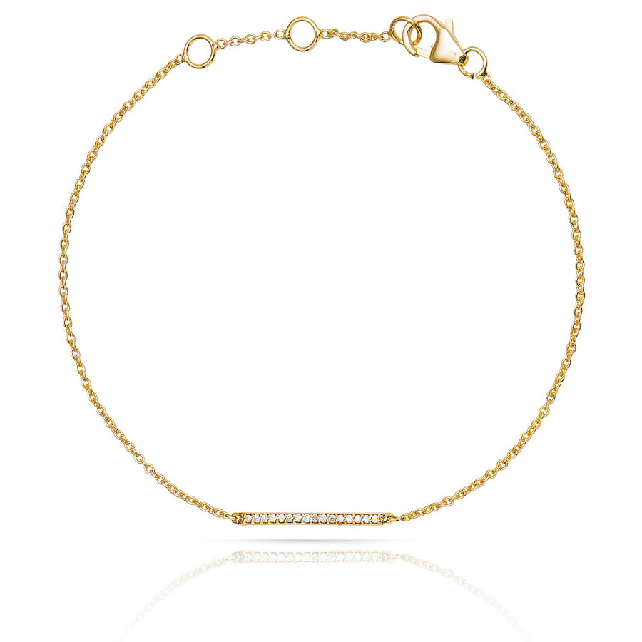 Diamond Bar Bracelet Yellow Gold