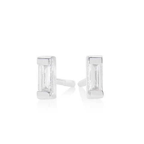 Baguette Earring White Gold