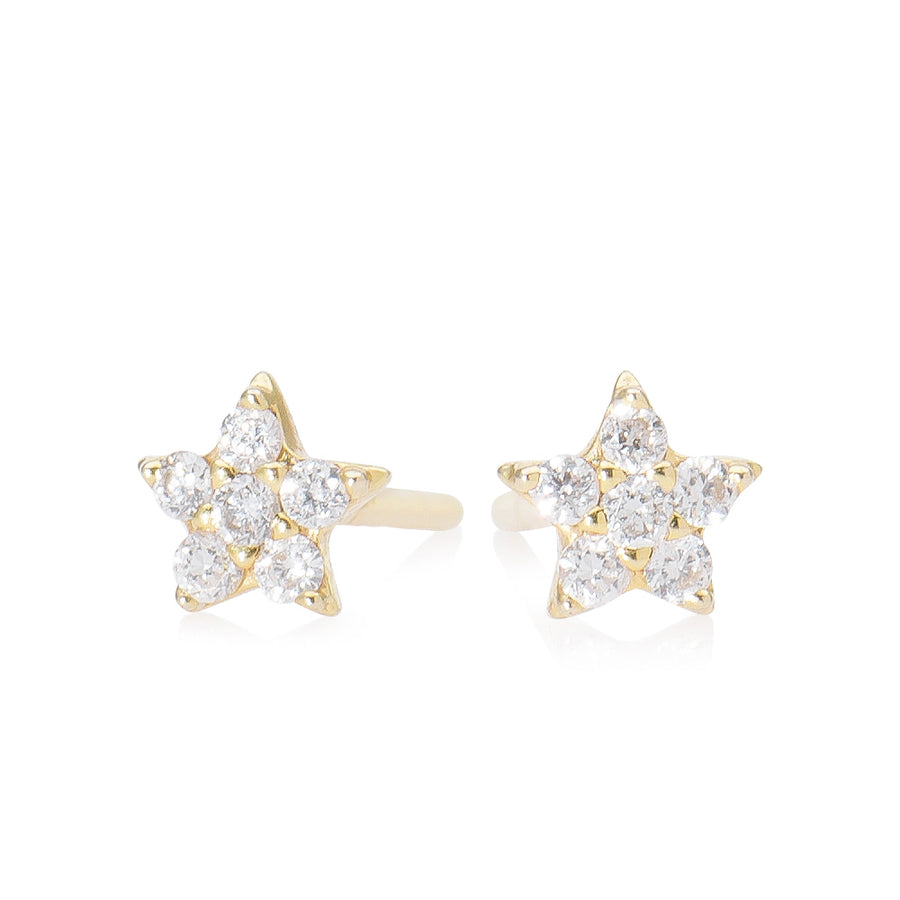 Diamond Star Earring Yellow Gold