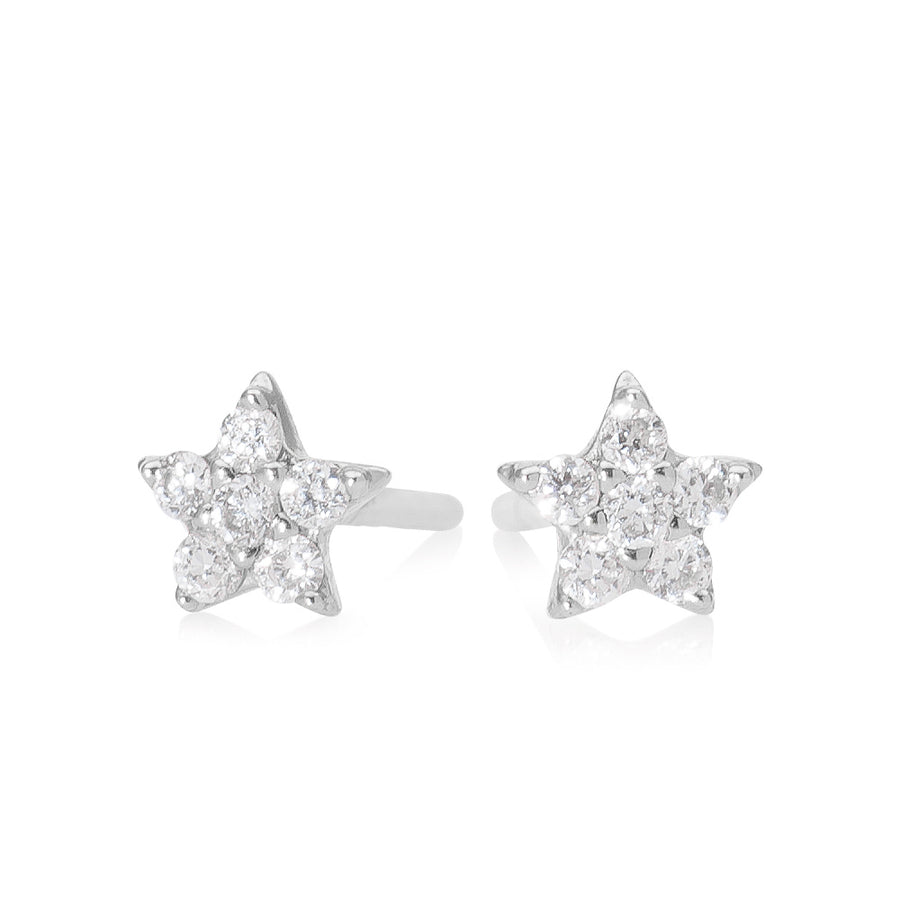 Diamond Star Earring White Gold