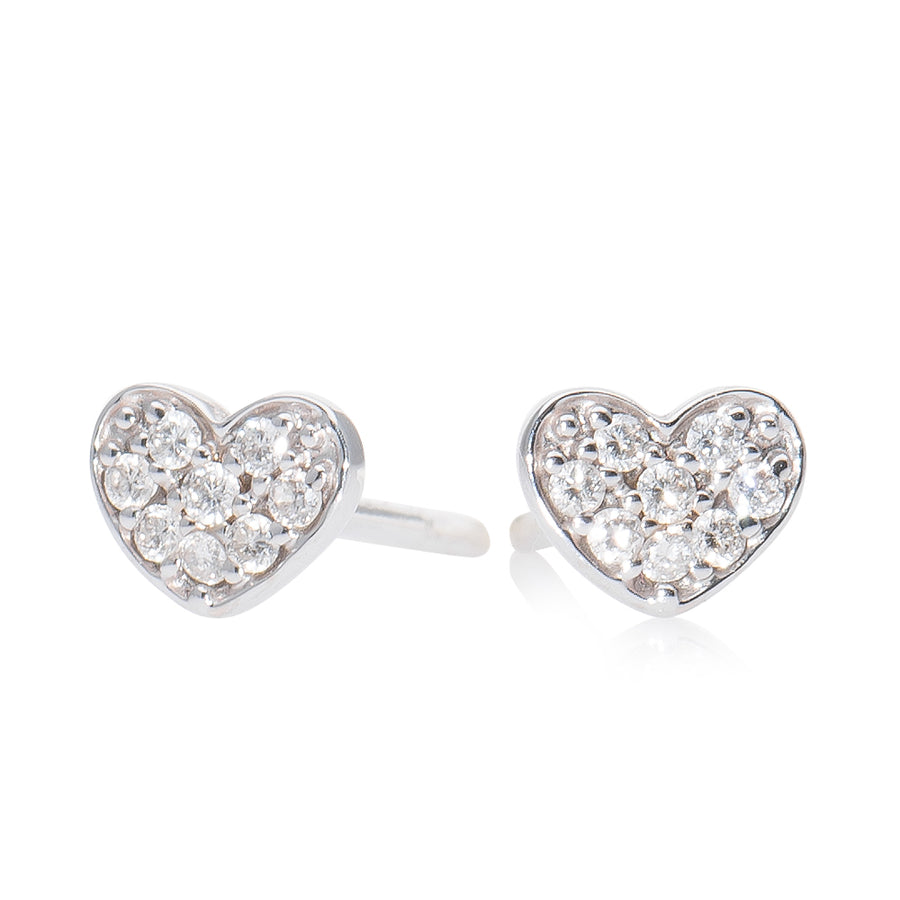 Small Diamond Heart Earring White Gold
