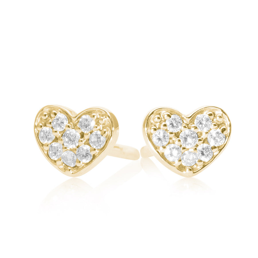 Small Diamond Heart Earring Yellow Gold