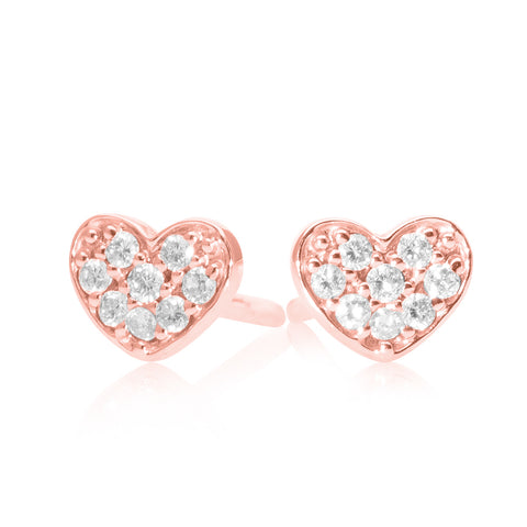 Lajoux Diamond Heart Earring small Rose Gold
