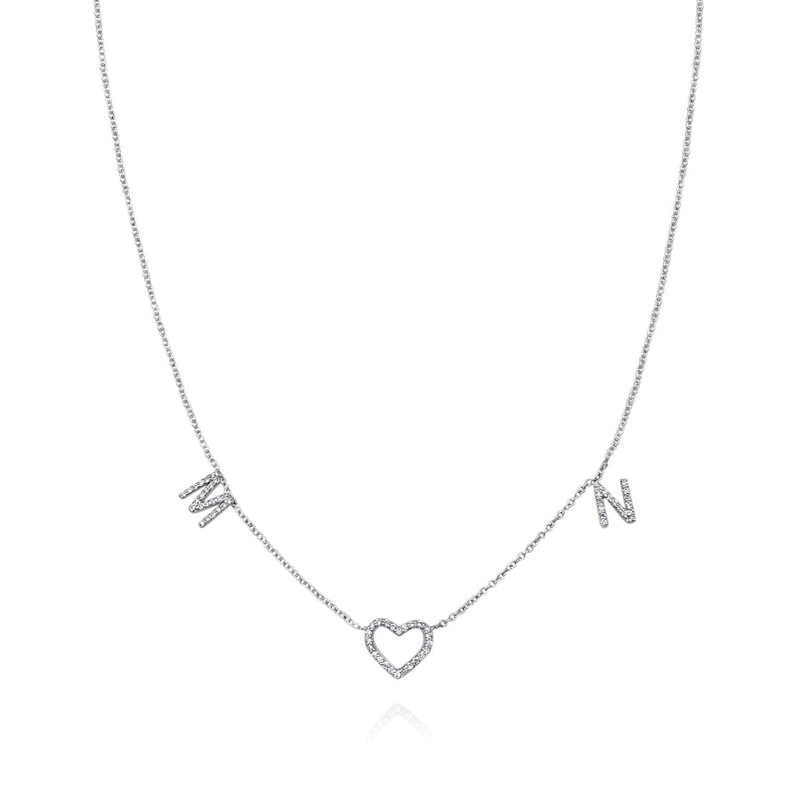 ABC + Heart Diamond Necklace