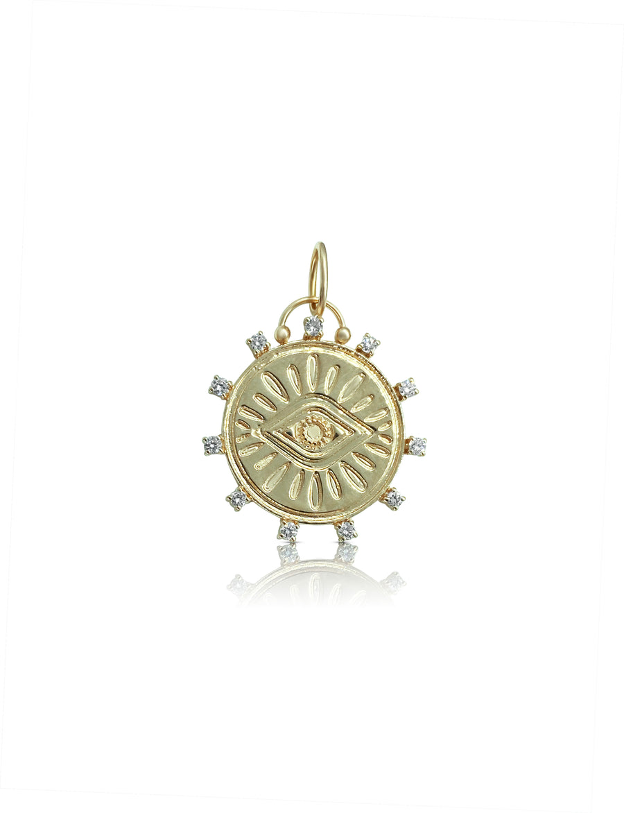 Diamond Protective Eye Charm Pendant