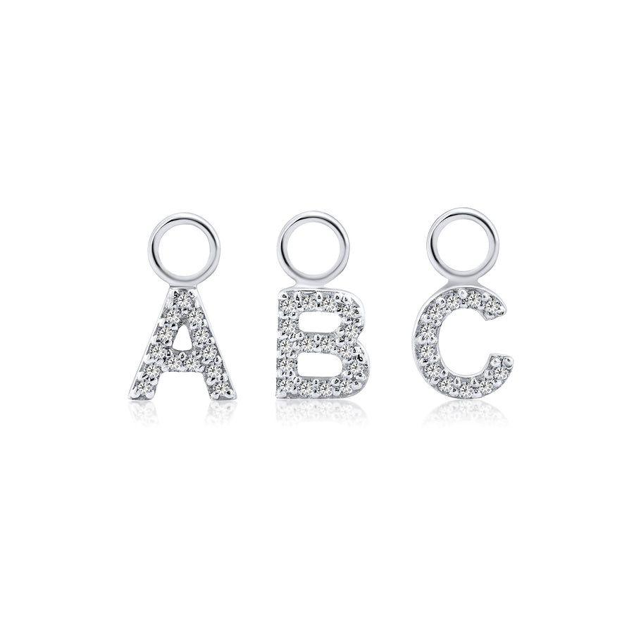 ABC Initial Charm Diamond White Gold