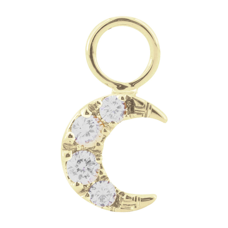 Diamond Moon Charm 14kt Gold