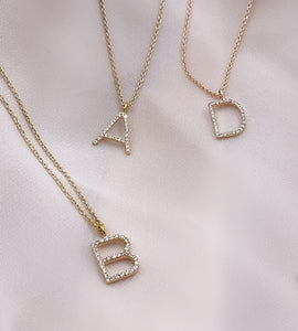 XL ABC Initial Diamond Necklace