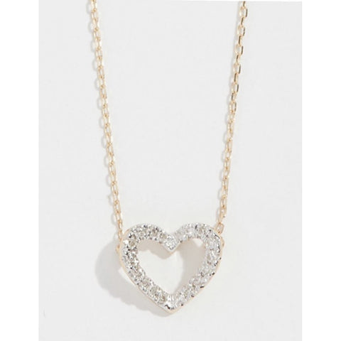Open Heart Diamond Necklace 14kt Gold