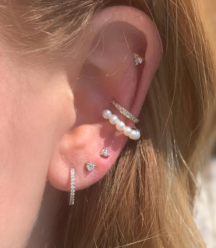 Pearl Ear Cuff White Gold