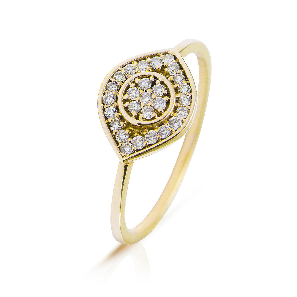 Lajoux Large Eye Diamond Ring Yellow Gold