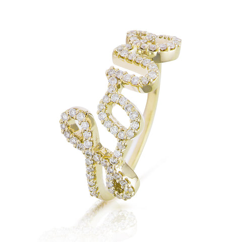 Diamond Love Ring Yellow Gold