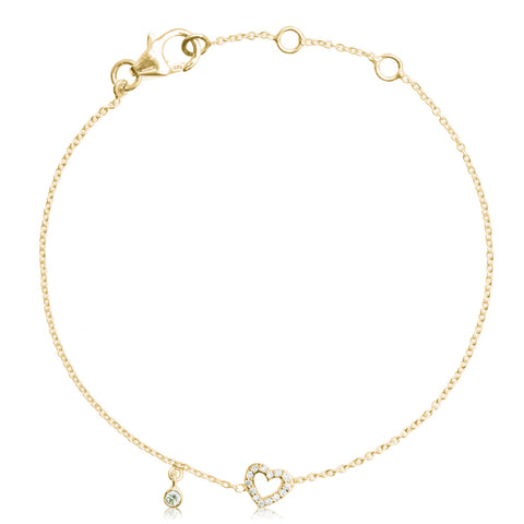 Lajoux Kids Bella Heart Bracelet Pleated Yellow Gold
