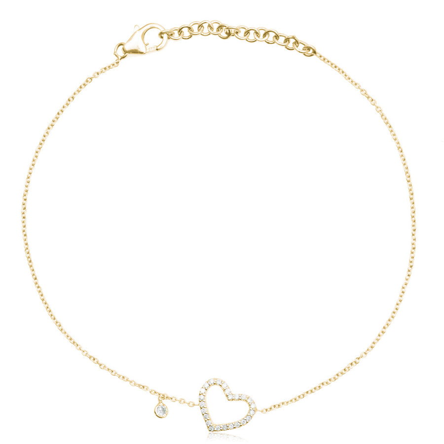 Diamond Heart Bracelet Yellow Gold
