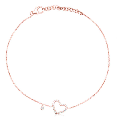 Diamond Heart Bracelet Rose Gold