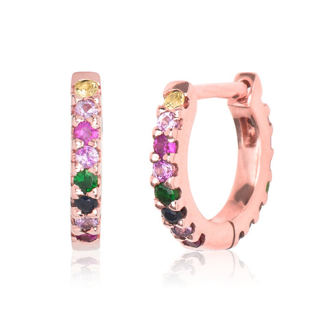 Rainbow Eternity Huggie Rose Gold S