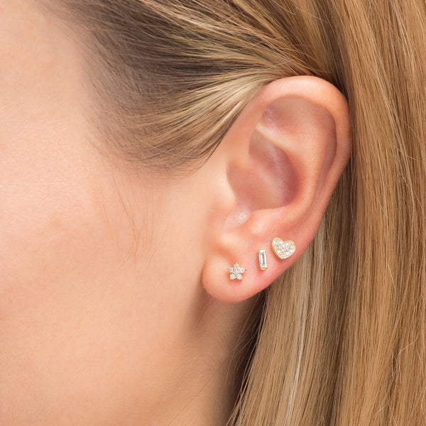 Small Diamond Heart Earring Rose Gold