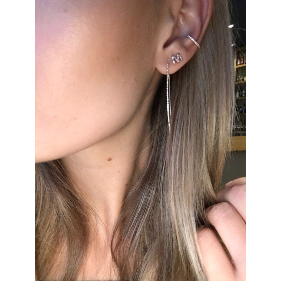 Diamond Curved Drop Earring Single White Gold