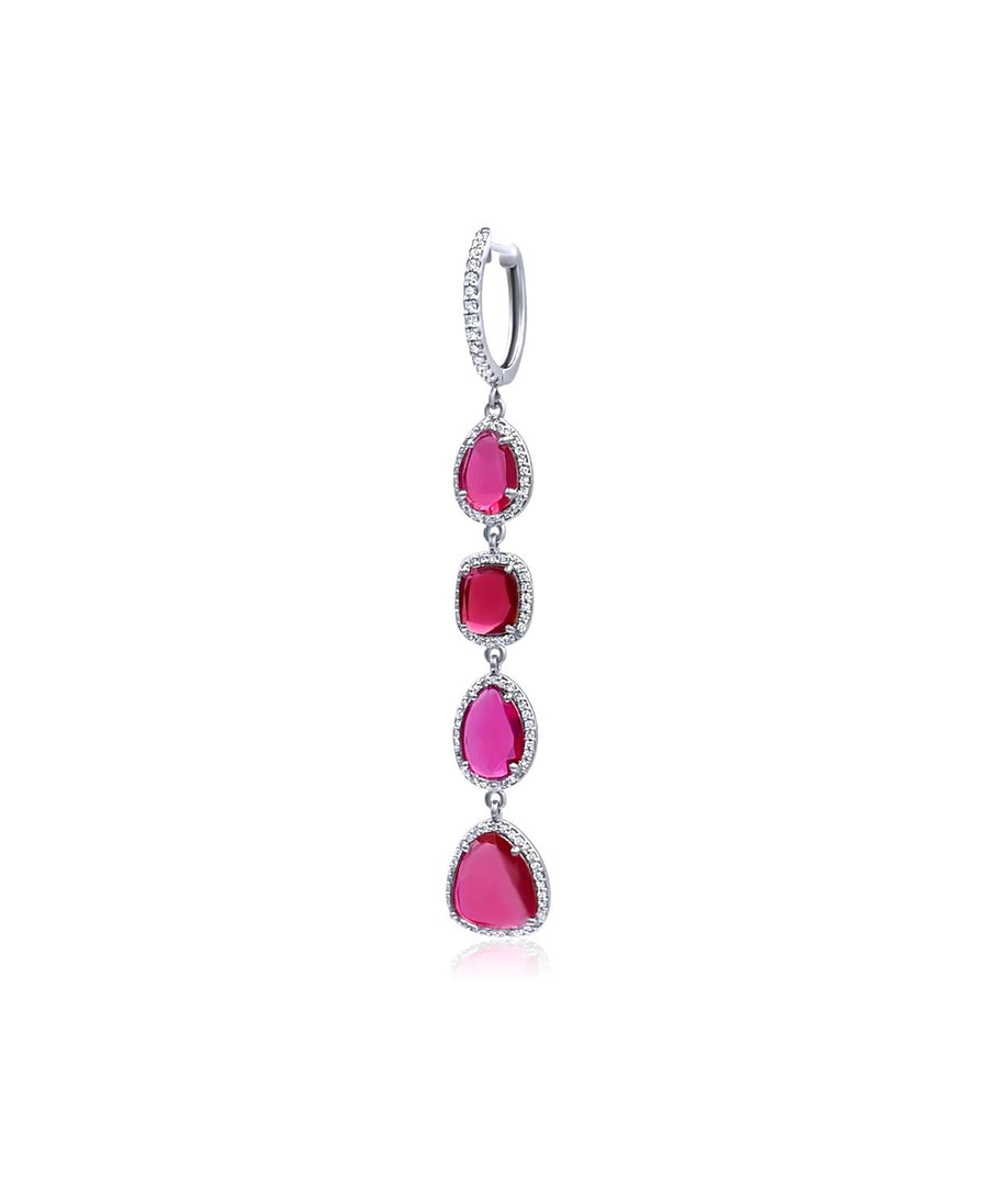 Diamond Pink Tourmaline Earrings