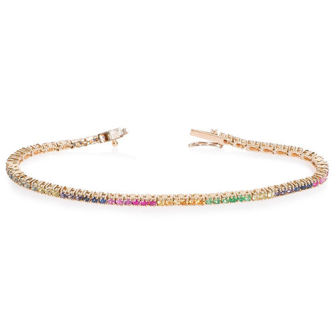 Lajoux Rainbow Tennis Bracelet Yellow Gold