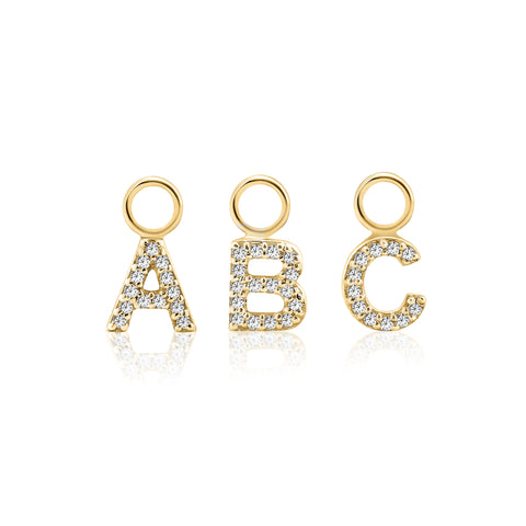 ABC Initial Charm Diamond Yellow Gold