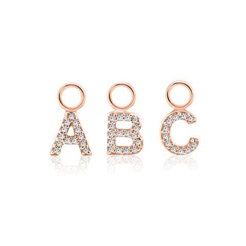 ABC Initial Charm Diamond Rose Gold
