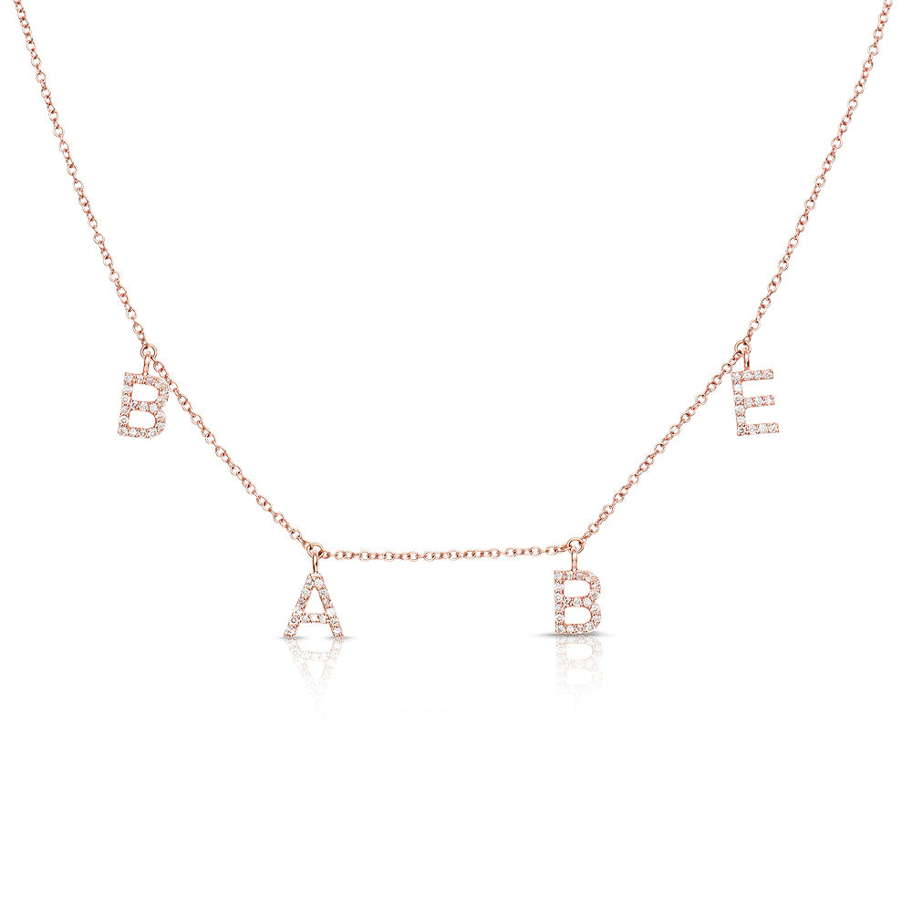 ABC Initial Diamond Necklace Rose Gold