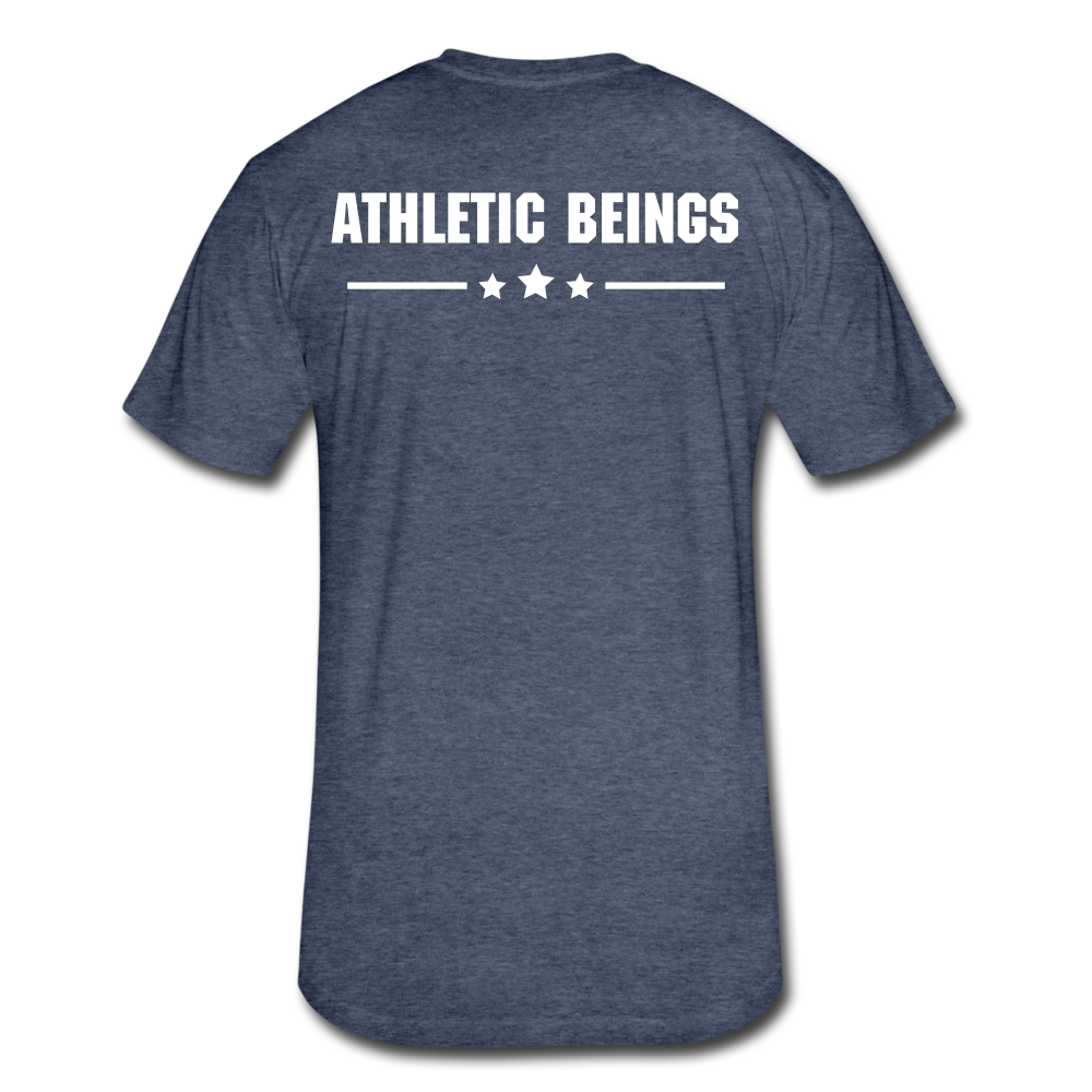 Men's Fitted Tee Train Hard Live Strong - heather navy