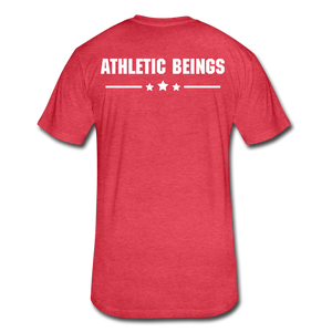 Men's Fitted Tee Train Hard Live Strong - heather red