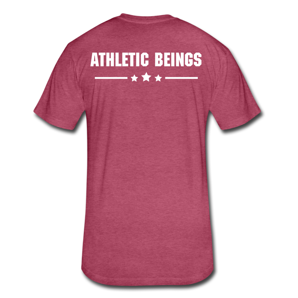 Men's Fitted Tee Train Hard Live Strong - heather burgundy