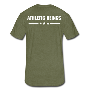 Men's Fitted Tee Train Hard Live Strong - heather military green