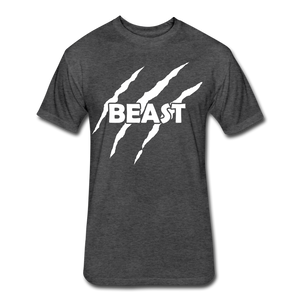 "Men's Fitted Tee ""Beast"" - heather black"