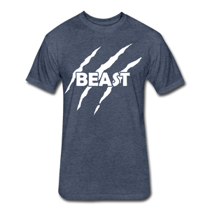"Men's Fitted Tee ""Beast"" - heather navy"