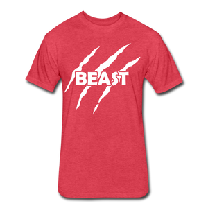 "Men's Fitted Tee ""Beast"" - heather red"