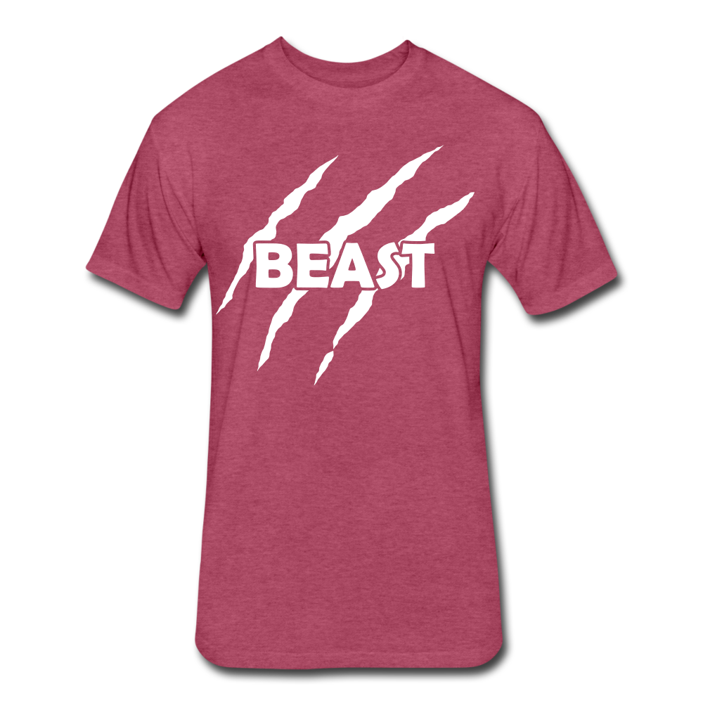 "Men's Fitted Tee ""Beast"" - heather burgundy"