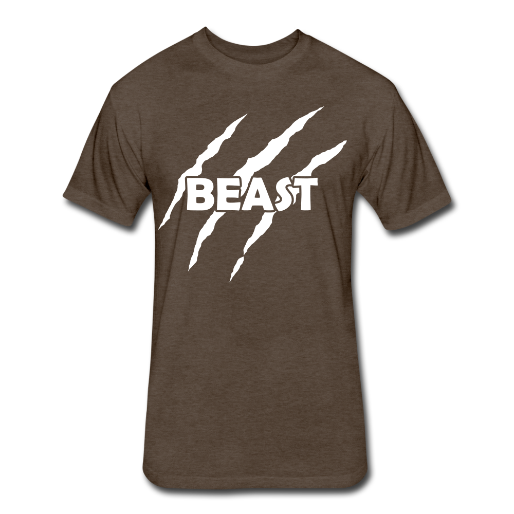 "Men's Fitted Tee ""Beast"" - heather espresso"