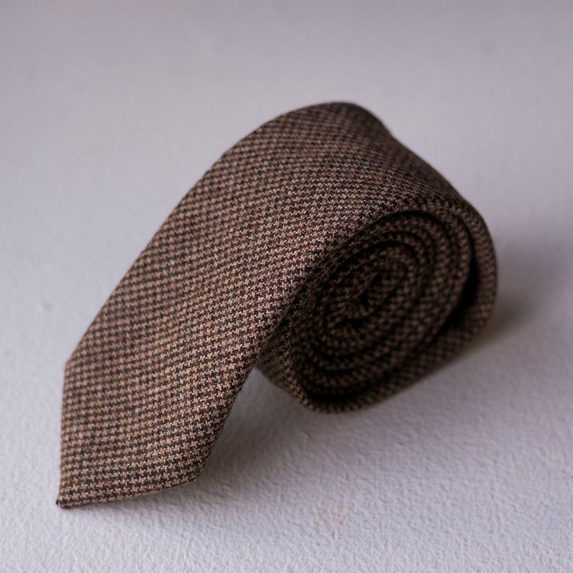 Walnut Houndstooth Wool Tie