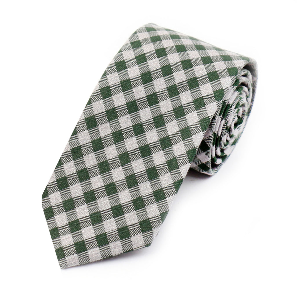 Sage Green Gingham Cotton Tie
