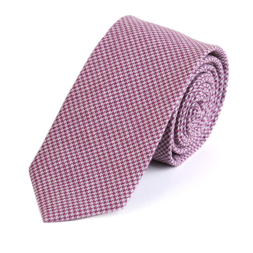 Red Houndstooth Cotton Tie