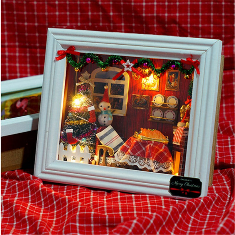Handmade Miniature Dollhouse in Wooden Frame HAPPY ROOM