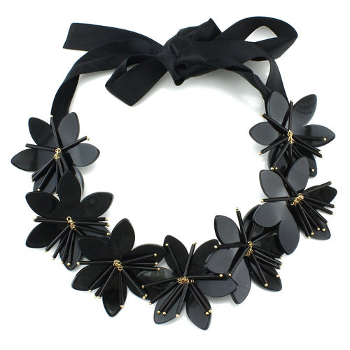 Collier Black  Flowers