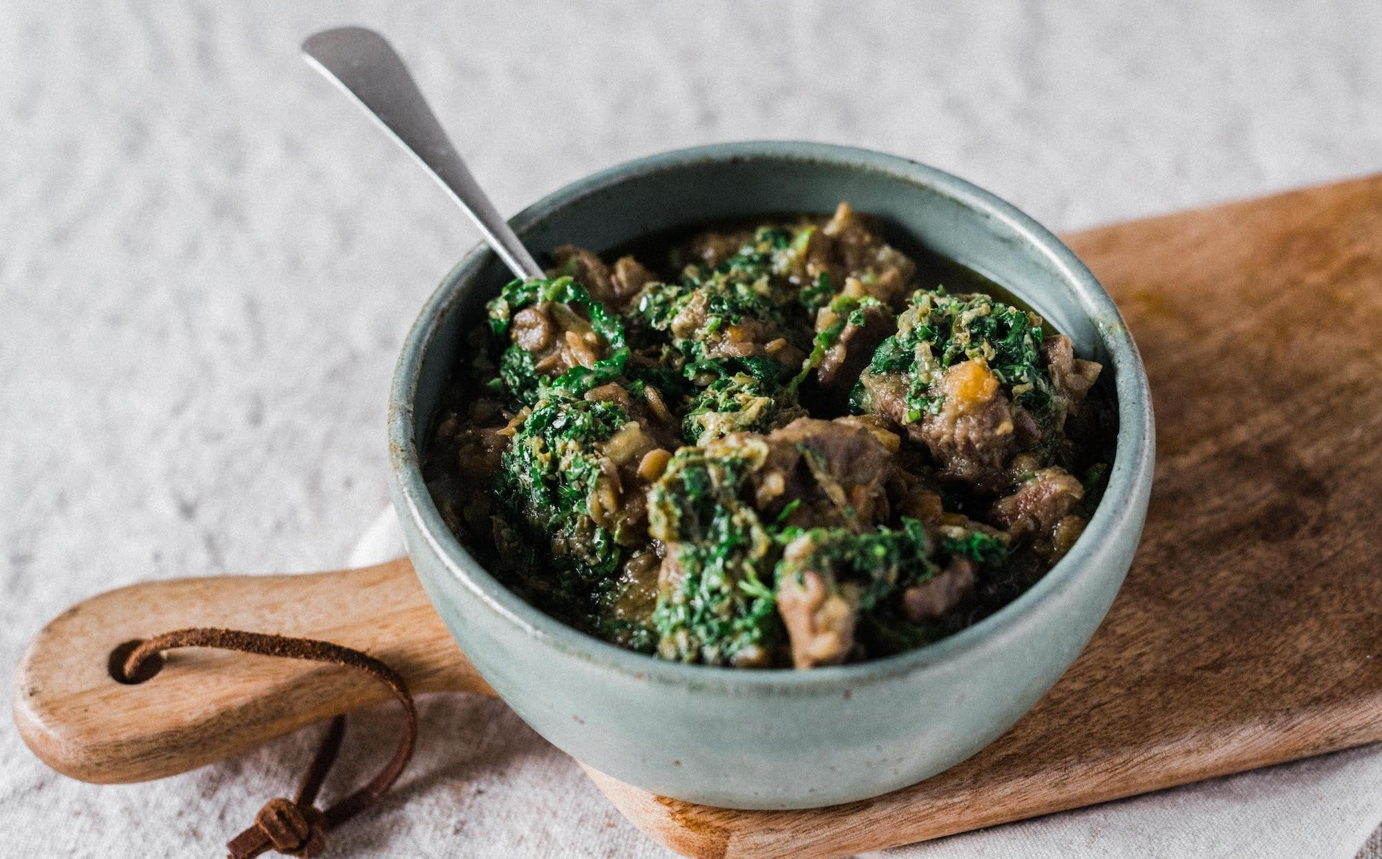 Lamb & Lentil Stew with Salsa Verde
