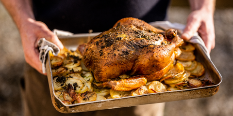 Wood-Roast Chicken with Herbs, Potatoes and Aioli, by Gill Meller