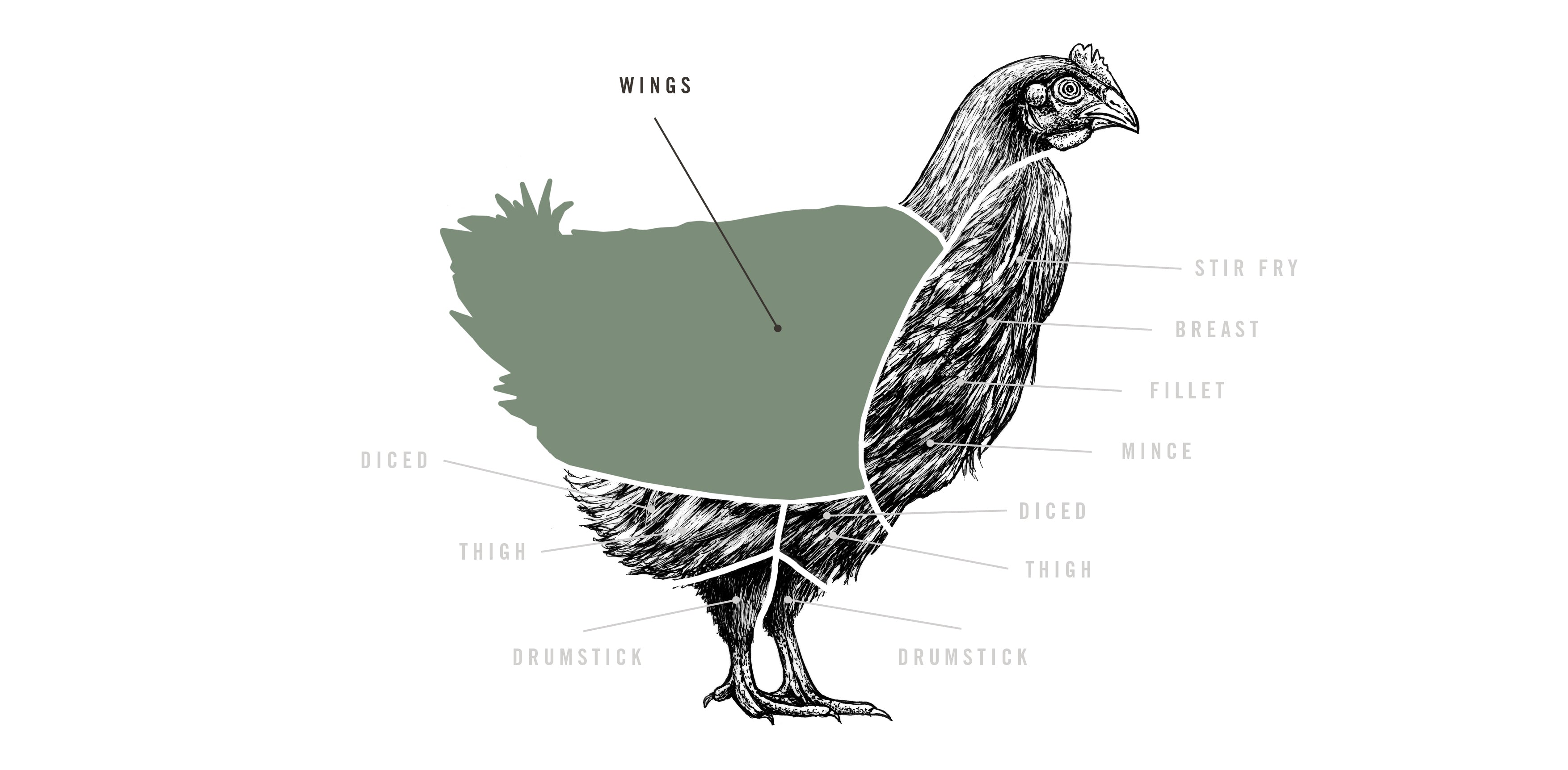 Free Range Chicken Wings Pipers Farm Diagram Of The Wing A Top View Meat Cuts