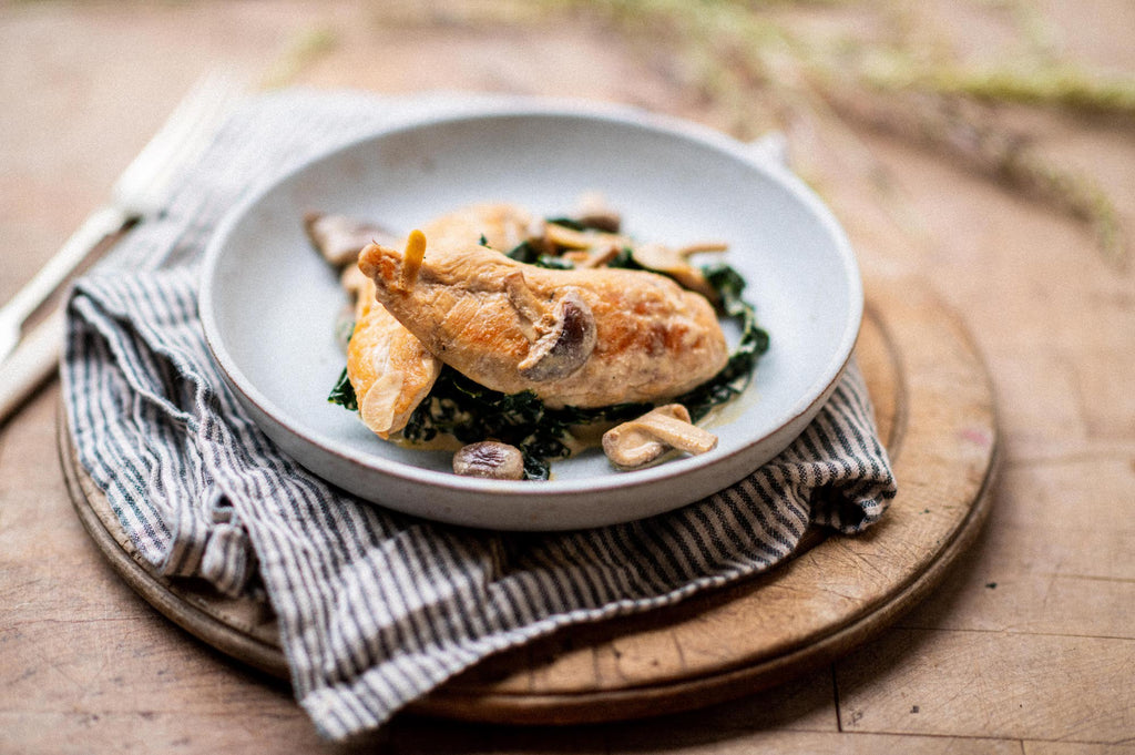 Chicken Fillets with Mushrooms and Cider Brandy